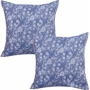 Set 2 fete de perna decorative BonDia Model Syn 601 43 cm x 43 cm Bumbac Albastru/Alb Flori