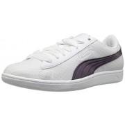 PUMA Women's Vikky Swan Fashion Sneaker, Puma White-Puma White, 7 M US