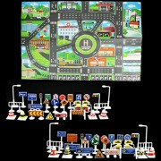 SIX VANKA 1pcs Thin Non-woven Fabrics Traffic Sign Street City Parking Lot Fun Children Play Map + 56pcs Street Traffic Signs Playset for Kids (Map & Toy Vehicle Playsets)