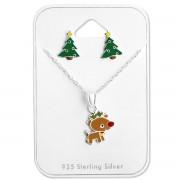 zilveren kinder kerstset met oorbellen en ketting | Sterling 925 Silver (Echt zilver)