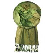 Damaskus Green - elegantní šála pašmína LZ11 zelená