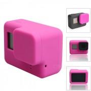 funda de silicona protectora + cubierta de la tapa de la lente para GoPro Hero 5 - de color rosa oscuro