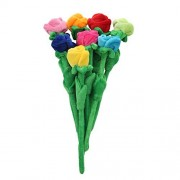 """Rose Plush Flower Colorful Soft Stuffed Flowers Toy With Bendable Stems For Kids Gift Decoration 24"""" Set Of 8"""