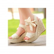 Womens Lady Sweet Candy cuña sandalias de plataforma Bowknot encaje de tobillo zapatos beige 38cm