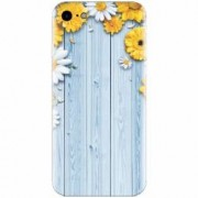 Husa silicon pentru Apple Iphone 5 / 5S / SE Sunflower On Blue Wood
