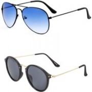 Yaadi Cat-eye, Aviator Sunglasses(Black, Blue)