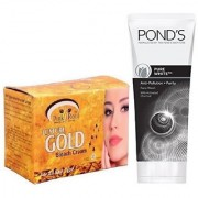 PINK ROOT GOLD BLEACH 250G WITH POND'S PURE WHITE ANTI POLLUTION FACE WASH 50G