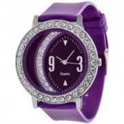 TRUE COLORS Beautiful Pink Colored purple Dot On Analog Watch - For Girls