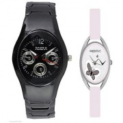Rosra Black Men and Valentime White Women Watches Couple for Men and Women
