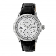 Reign Cascade Automatic Leather-Band Watch w/Day/Date - Silver REIRN4401
