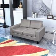 vidaXL Двуместен диван, плат, светлосив