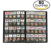 Classic Gifts 60 Countries Coins Collection Starter Kit Authentic Coins Original Genuine World Coin with Leather Collecting Album Taged by Country Name And Flag by zcccom