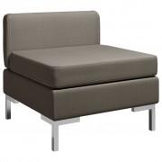 vidaXL Модулен среден диван с възглавница, текстил, таупе