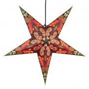 Blaze paper star, 5-pointed, patterned, red