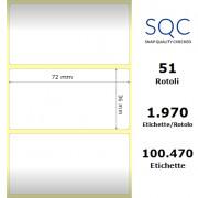 Etichette SQC - Carta termica (bobina), formato 72 x 36