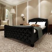 vidaXL Luxusní postel z umělé kůže 140 x 200 cm černá