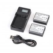 Baterías 2pcs + LCD Cargador + USB Cable Para Canon LP-E10