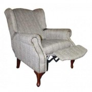 Carla Pushback Wingback Chair Dove Straw Fabric
