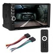 Sanpyl Car Stereo, 7 Pulgadas 2 DIN Reproductor Multimedia, Car MP5 Player Soporte Bluetooth, Aux, Tarjeta TF, Inversión de Imágenes, Llamada sin Hans con Interfaz USB