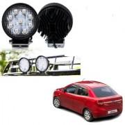 Auto Addict DEVICE 4 inch 9 LED 27Watt Round Fog Light with Flood Beam Auxiliary Lamp Set Of 2 Pcs For Ford Figo::Aspire