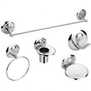 5 Pieces Stainless Steel Bathroom Accessories Set-(1-Soap Dish 1-Tumbler Holder 1-Towel Rod -24 1-Napkin Ring 1-Robe Hook)-Creta Series
