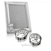 Set cadou bucla dintisor si rama foto argintata