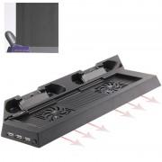 Chargeur Stand USB Double Cooling Fan Controller Stand Holder Refroidisseur pour PS4 Console Cooler (Noir)
