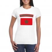 Bellatio Decorations Marokkaanse vlag shirt wit dames