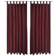 vidaXL 2 pcs Bordeaux Micro-Satin Curtains with Loops 140 x 245 cm