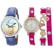 Jack Klein Combo of Round Dial Blue Strap Analogue Wrist Watch And Pink Love Watch
