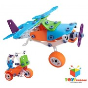 Toys Bhoomi 2 IN 1 Take-Apart 3D Model Airplane & Motorcycle Assembly Construction Building Blocks Puzzles DIY Playset with Screw Nuts & Tools