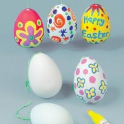 Baker Ross Ceramic Hanging Eggs - 4 Design Your Own Egg Ceramic Decorations. 7cm. Hanging Cord Included.