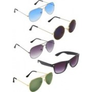 HAIRUM Aviator, Round, Wayfarer Sunglasses(Black, Blue, Violet, Green)