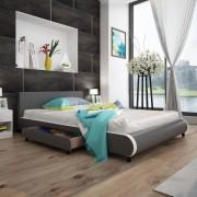 vidaXL Легло от изкуствена кожа с две чекмеджета, 140 х 200 см, сиво