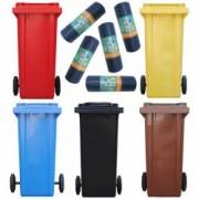 Pachet - 5 Pubele 120L Tomberon cu roti Pentru gunoi Reciclare selectiva + 5 role - Saci menajeri pentru pubela 10buc 24