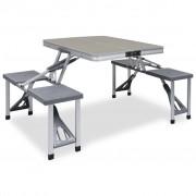 vidaXL Сгъваема къмпинг маса с 4 седалки, стомана, алуминий