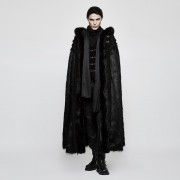 Punk Rave Winter Waters Hooded Fur Cloak Long Coat Black Y-803