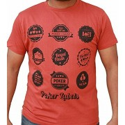 Hussky Poker Series Brick Red Half Daily Casual Wear Sleeves Round Neck T shirt For Men And Boys For Poker Lovers (Small Medium Large Sizes)