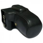 Bolsa de cuero de la caja de la PU para Canon 100D - Negro
