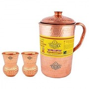 Taluka Handmade Pure Copper Hammered Jug 2000 ML with 2 Glass 300 ML each -Serving Storage water Good Health Benefit Yoga Ayurveda
