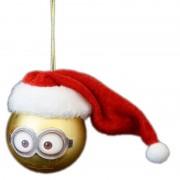 Merkloos 1x Kunststof kerstballen Minions Dave met Kerstmuts 6 cm