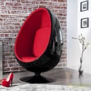 Fotoliu design deosebit Space Egg rosu cu negru A-1135 VC