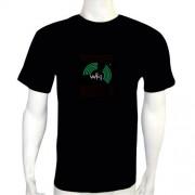 LED Electro Luminescence Wi-Fi Shaped Sound Activated Electro Luminescence Flashing Dancing T Shirt Black 12011
