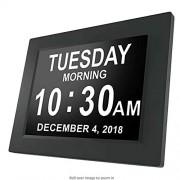 WXQP Reloj diurno, Reloj de Demencia con 3 alarmas, Opciones de atenuación automática, Reloj Digital con Pantalla Grande y Calendario Digital, Ancianos, Pérdida de Memoria, Negro,Black