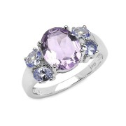 Inel argint cu ametist, tanzanit si diamante albe