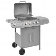 vidaXL Barbecue à gaz 4 + 1 zone de cuisson Argenté