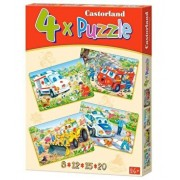Puzzle 4 in 1 - Vehicule comice, 55 piese