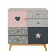 Maisons du Monde Mobiletto a 2 ante e 4 cassetti grigio e rosa April