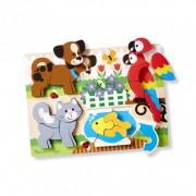 Puzzle din lemn cu piese mari Prietenii mei Melissa Doug