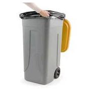 Socepi Bidone pattumiera raccolta indifferenziata da 100 litri con ruote e coperchio di colore giallo